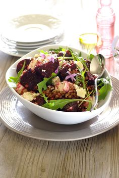 A wonderful all-year-round dish bursting with nourishment. Lentils and beetroot greens are some of the key ingredients in our Future 50 Foods report. Lentil Salad, Feta Salad, Clean Recipes, Healthy Recipes, Warm Salad, Salad Dressings, Beetroot, Healthy Options, Lentils
