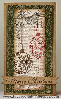 Baubles on patterned paper, via Flickr. Could use book pages too