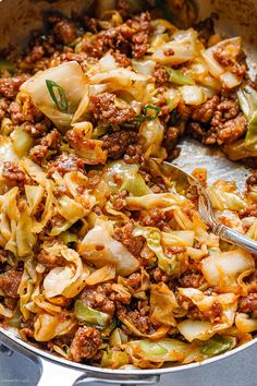 Fried Cabbage Recipe with Sausage – Perfect for your weeknight dinners, this fried cabbage recipe with sausage is an easy throw-together recipe you can make in 30 minutes. This quick one-pan … Cabbage Steaks, Sauteed Cabbage, Braised Cabbage, Chicken And Cabbage, Onion Chicken, Butter Chicken, Garlic Butter, Cabbage Recipes With Sausage, Easy Cabbage Recipes