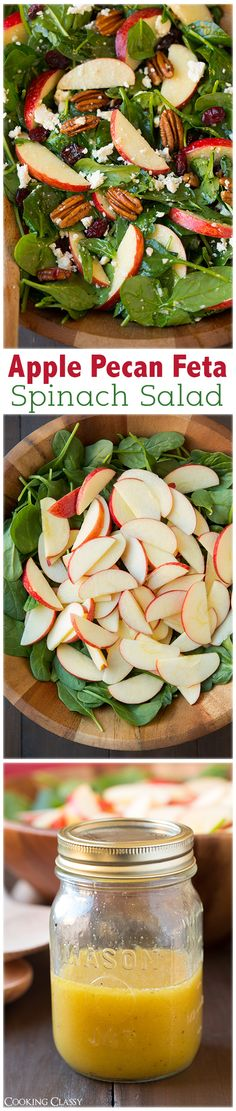 Apple Pecan Feta Spinach Salad with Maple Cider Vinaigrette - this salad is a must try recipe! Highly recommend adding the bacon too. Tried it, loved it on my Weekly Pinterest Meal Planner Round Up @frostedevents www.frostedevents.com
