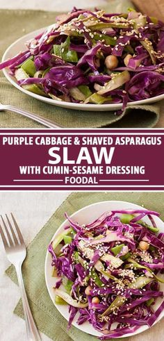Purple Cabbage and Shaved Asparagus Slaw with Cumin-Sesame Dressing Healthy Side Dishes, Side Dish Recipes, Easy Recipes, Healthy Recipes, Mayonnaise, Purple Cabbage Recipes, Slaw Recipes, Grilled Veggies, Salad Dressing Recipes