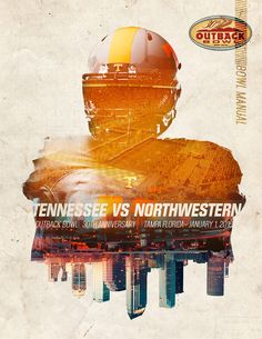Tennessee football: outback bowl 2016 on behance sports graphic design спор Sports Graphic Design, Graphic Design Posters, Graphic Design Inspiration, Sport Design, Poster Designs, Tennessee Football, Plakat Design, Sports Graphics, Environmental Graphics