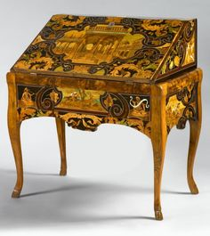 While this piece is not French, I simply had to include it here - a highly significant and rare German, 18th century, marquetry bureau created with Italian marquetry in ivory, stained horn, ebony, sycamore, rosewood, purplewood, walnut, and pewter by Antonio and Luccio de Lucci of Venice, dated 1686.