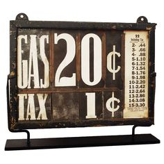 1930's Gas Station Price Sign |