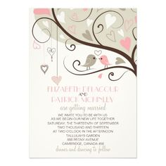 """Adorable illustrations of two pink and gray love birds perched on a whimsical tree branch filled with hearts and heartstrings. It is perfect for summer, winter and outdoor weddings.  <br> <br> If you have any request please leave a comment below or in my store.    <div style=""""text-align:center;line-height:150%""""> <a href=""""http://www.zazzle.com/pink_and_gray_lovebirds_wedding_invitation-161756973950640798?rf=238050465743967284""""> <img…"""