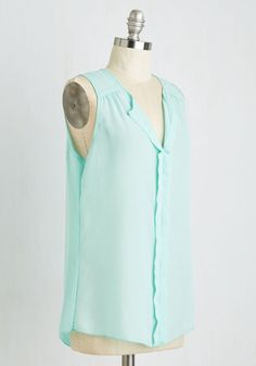 Isle Be Seeing You Top in Mint | Mod Retro Vintage Short Sleeve Shirts | ModCloth.com