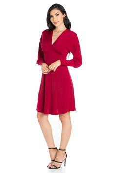 9f8538ef9ff 24seven Comfort Apparel Charming V Neck Long Sleeve Cocktail Dress