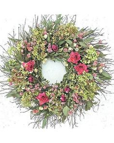 """Green Hydrangea and Rose Wreath - 30"""" dia - Frontgate"""
