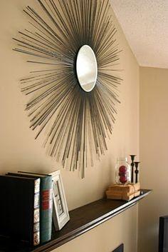 DIy sunburst mirror, super easy gotta love it! Diy Wall Art, Diy Art, Wall Decor, Starburst Mirror, Diy Mirror, Retro Mirror, Bamboo Mirror, Diy Shows, Architecture