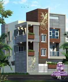 House Wall Design, 2 Storey House Design, House Front Design, Modern House Design, Front Elevation Designs, House Elevation, Innovative Architecture, Architecture Plan, Small Apartment Layout