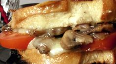 Mushroom, Tomato & Cheese on Grilled Sourdough