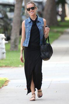 pair a long black dress with a cute vintage jean vest.