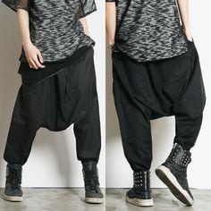 Remember Click Baggy Drop Crotch Pants BLACK ONE SIZE Korean Wear #RememberClick #CasualPants