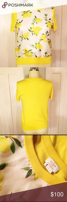 🍋GORGEOUS 🍋Kate Spade Sweater (silk + cashmere) Silk, cashmere and lemons! It kills me to sell this but it just doesn't fit anymore. Absolutely adorable and in beautiful condition. ⭐️There is the tiniest imperfection just below the collar (see close up of tag) that is almost impossible to see, but I want to call it out. kate spade Sweaters Crew & Scoop Necks
