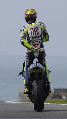 Valentino Rossi... His most famous pose.