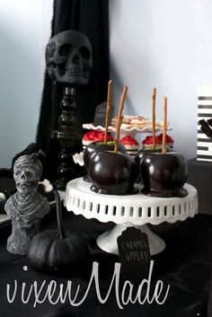 Vampire Halloween party candy apples!  See more party planning ideas at CatchMyParty.com!