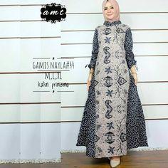 62 Model Gamis Batik Terbaru Populer 2020 – CuanLagi.Com Model Dress Batik, Batik Dress, Kebaya Muslim, Muslim Dress, Batik Fashion, Women's Fashion, Model Kebaya, Mode Hijab, 3d Wall