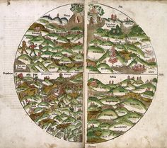 World Map 15th Century. Woodcut world map by unknown author, published by the German book printer Lucas Brandis in 1475.