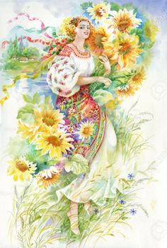 Illustration about Young Woman in Ukrainian Costume, beautiful. Illustration of background, girl, figure - 31954707 Illustrations, Illustration Art, Ukrainian Art, Sewing Art, Russian Art, Famous Artists, Beautiful Paintings, Female Art, Art Pictures