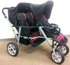 Red and Black Triple Trio Tandem Baby Jogger Stroller with Rain Canopy – Free Matching Carry Bag | Best Buy Baby Products Store