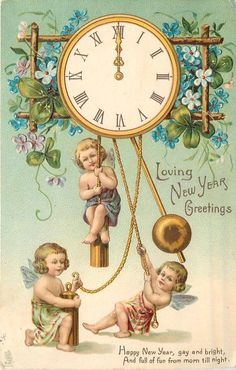 quenalbertini: Vintage New Year Card Vintage Happy New Year, Happy New Years Eve, Happy New Year Cards, New Year Greetings, Vintage Holiday, Vintage Valentine Cards, Vintage Greeting Cards, Vintage Postcards, Vintage Illustration