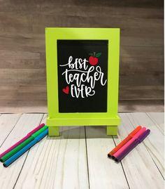 Personalized Teacher Chalkboard Sign, Teacher Chalkboard Easel, Teacher Appreciation Gift, Back to School Gift, Teacher Classroom Gift Chalkboard Easel, Chalkboard Signs, Back To School Gifts, Teacher Appreciation Gifts, Best Teacher, 2 Colours, Classroom, Display, Cards