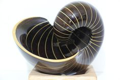 If you enjoy decorative artwork and wood carving, look at the detailed wooden nautilus shells made by RJ Art Works in Nashua, NH. Wood Sculpture, Sculptures, Segmented Turning, Project Ideas, Diy Projects, Nautilus Shell, Wooden Jewelry, Scroll Saw, Wood Turning