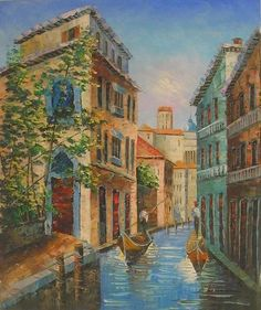 Wall Art finished in USA History: Gondoliers Passing By is a hand finished canvas oil painting. These two familiars are enjoying another beautiful day in Venice
