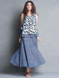 Indigo Bagru Printed Sleeveless Cotton Top