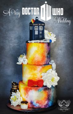 Doctor Who themed wedding cake! So fun!