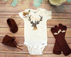 Deer Onesie®, Baby Shower Gift, Baby Girl Clothes, Cute Baby Onesies, Rustic Baby Gift, Country Baby Gift, Baby Bodysuit, Hunting Onesies