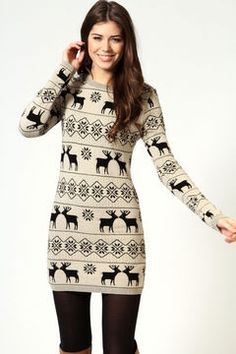 POPSUGAR ShopStyle: Boohoo Dotty Reindeer Print Knitted Long Sleeve Bodycon Dress