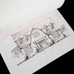 Airplane sketch of the week! We're excited to get started on this Pennsylvania renovation. #tinysketchbook #airplanesketch #pennsylvania #renovation #pencilsketch #designingat30kfeet #designwaitsfornoone #residentialarchitecture #gambrel #tsadamsstudio