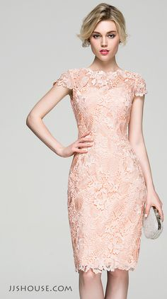 An ultra feminine stunning. You will be a fair lady in this sheath scoop neck lace dress. #JJsHouse