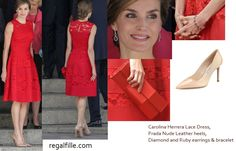 Queen Letizia dazzled in Red for 40th anniversary of the General Elections  She wore Carolina Herrera Fall 2016 Red Lace Dress with Prada Heels.  for details visit http://www.regalfille.com/2017/6/queen-at-commemoration.php