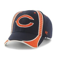 Chicago Bears '47 Brand Adjustable Cap. This structured fit features the Bears logo embroidered centered between a unqiue geometrical pattern team color inlay. The velcro closure also features a flat