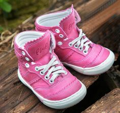 Emel Pink Lace Up High Trainers (1962-8) Handmade first shoes