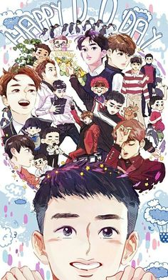 Happy birthday that is one day after my birthday! Yay for my bias. Kpop Exo, Chanbaek, Kaisoo, Exo Ot12, Kyungsoo, Exo Birthdays, Exo Cartoon, Exo Anime, Exo Fan Art