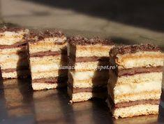 diana's cakes love: Prajitura Ramona- foi, nuca si crema de vanilie Krispie Treats, Rice Krispies, Romanian Desserts, Yams, Tiramisu, Sweet Treats, Deserts, Sweets, Ethnic Recipes