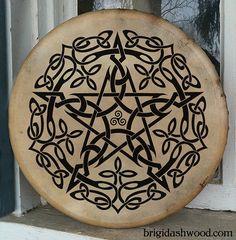 Celtic Pentacle Bodhran Drum  Hand painted