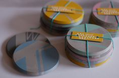 Concrete Coasters - 4 piece multi coloured set, Geometric Patterns by ailandel… Concrete Cement, Concrete Furniture, Concrete Crafts, Concrete Projects, Concrete Design, Coaster Crafts, Leather Coasters, Cork Coasters, Beton Diy