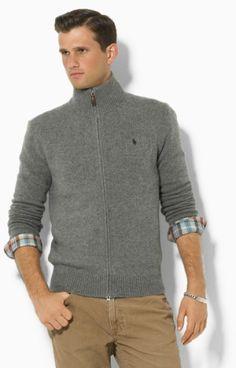Polo Ralph Lauren Sweater | Polo Ralph Lauren Lambswool Zipfront Sweater in  Gray for Men (