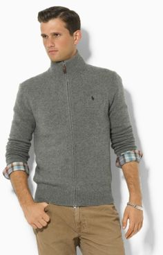 Ralph Lauren Men Wool Big Pony Sweaters Brown .
