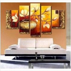 Golden Leaves Abstract Wall Canvas Art Sets Painting for Home Decoration 100% Ha on eBid United States