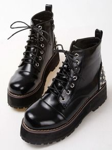 Black Studded Lace Up Heavy-bottomed Boots
