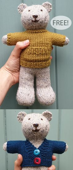 Free Knitting Pattern for Ted the Bear with Wardrobe – Toy Teddy with separate patterns for a sweater with front pocket and cardigan. Designed by Jem Weston. bear , Free Knitting Pattern for Ted the Bear… Continue Reading → Teddy Bear Knitting Pattern, Animal Knitting Patterns, Knitted Doll Patterns, Knitted Teddy Bear, Crochet Teddy, Crochet Bear, Knitting Bear, Teddy Bear Patterns Free, Knitted Dolls Free