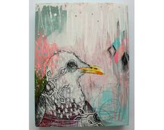 Original seagull painting mixed media art by thesecrethermit