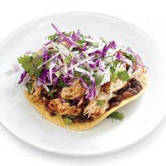Spicy Chicken and Black Bean Tostadas with Jicama Slaw | MyRecipes.com