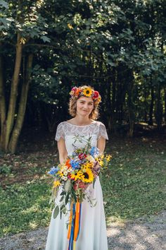 Bright Camp Festival Wedding with a Moon Gate Flower Arch & Literature Details Bride Bridal Flowers Colourful Bouquet Flower Crown Bright Camp Festival Wedding Chloe Lee Photography Quirky Wedding, Woodland Wedding, Autumn Wedding, Floral Wedding, Wedding Colors, Boho Wedding, Flower Crown Veil, Flower Crown Wedding, Bridal Flowers