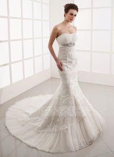 Trumpet/Mermaid Sweetheart Chapel Train Tulle Lace Wedding Dress With Ruffle Beading (002001281) - JJsHouse